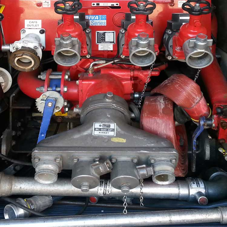 Water pumps on a fire engine