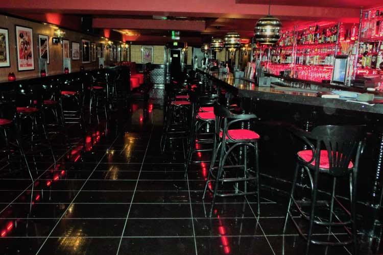 A bar at a music venue