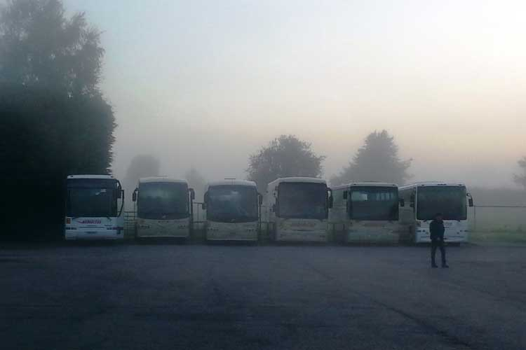 Coaches in a coach park